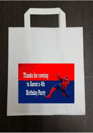 4 x Spider-man Birthday Party Bags with Personalised Sticker